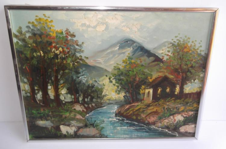 Oil on canvas house by stream scene
