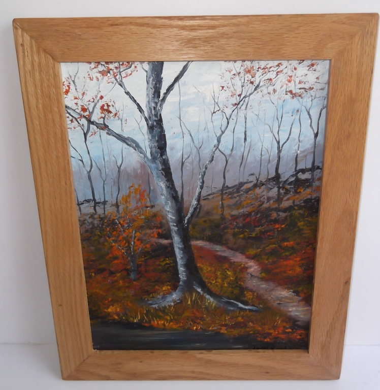 Oil on canvas wooded scene