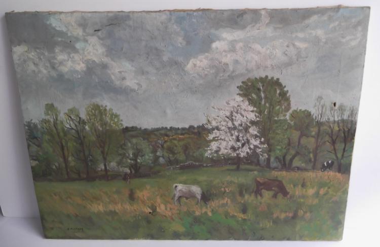Oil on canvas cows in field scene