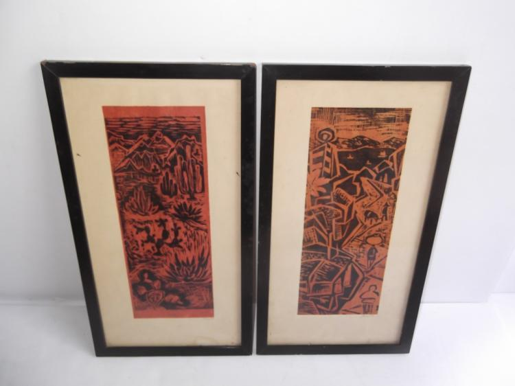Pair of colored woodblock prints