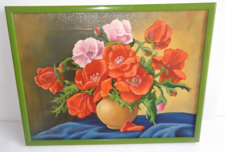 Oil on canvas floral still life