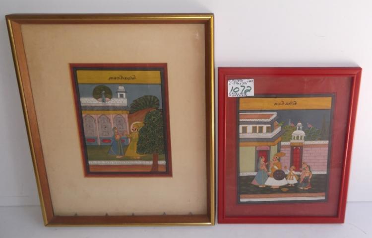 2 acrylic Indian scene paintings