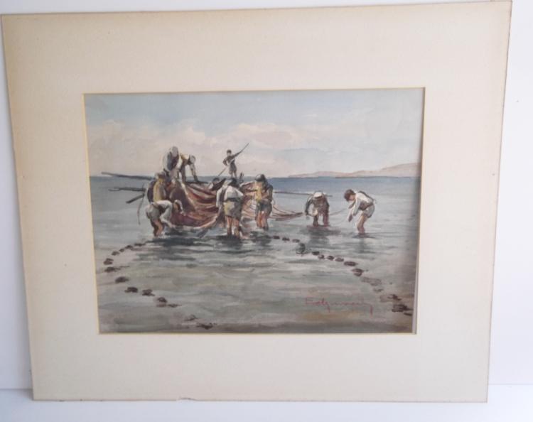 Watercolor fisherman scene