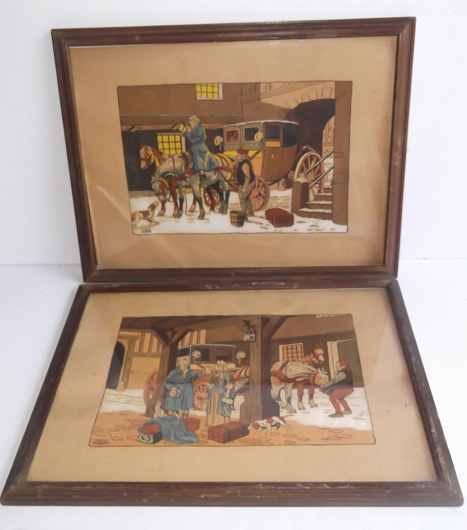 2 illustration horse & buggy lithograph prints