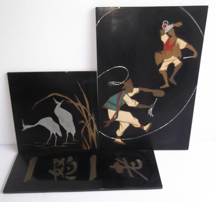 3 Korean wall hanging lacquered inlaid plaques