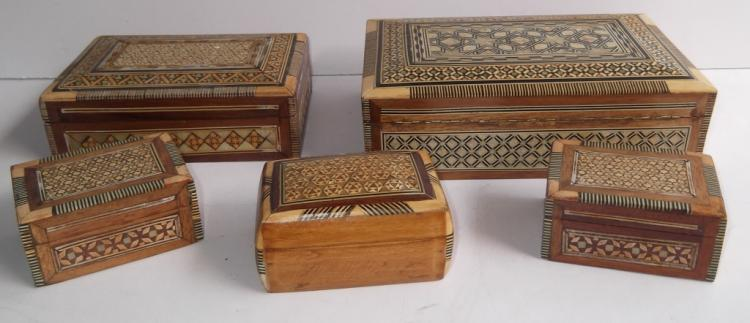 5 Mother of pearl inlaid jewelry boxes