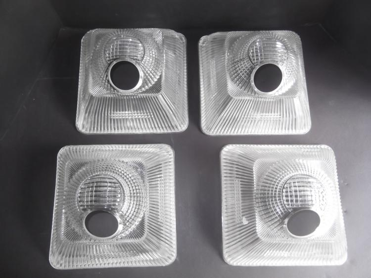 4 vintage industrial clear glass shades