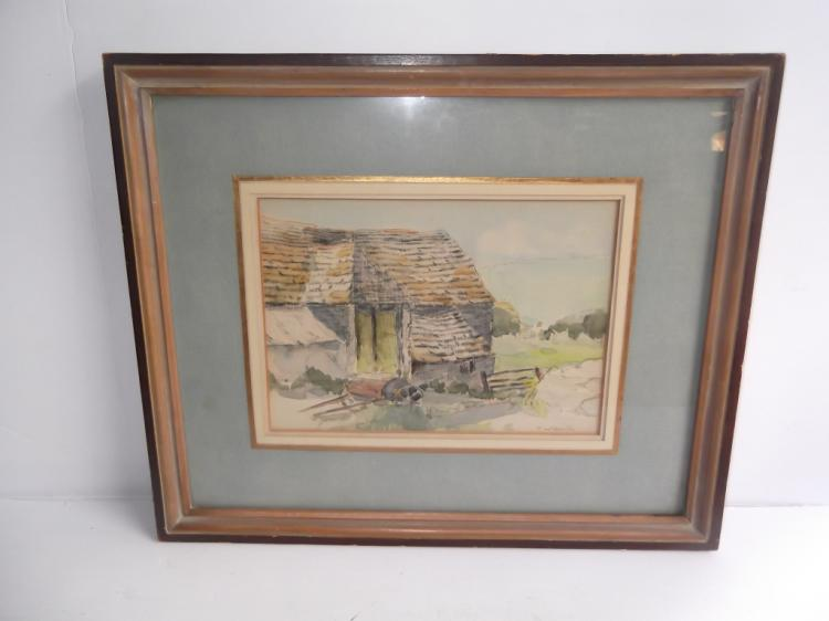 20th c. Watercolor country home scene