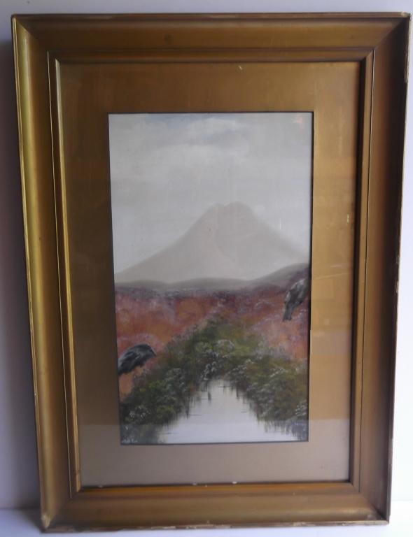 watercolor/gouache volcano scene