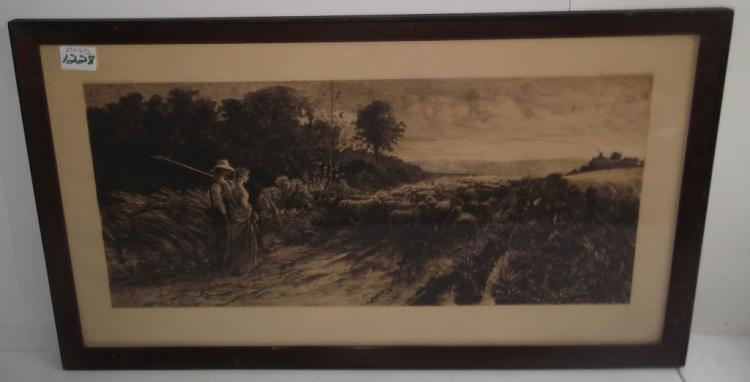 Large etching sheep herder