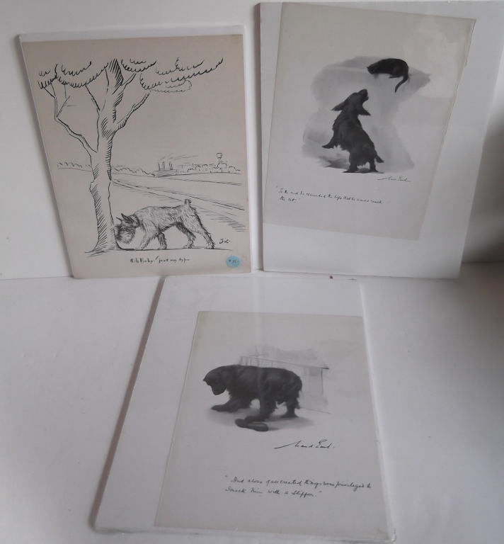 3 Original  pen & ink/mixed media dog drawings