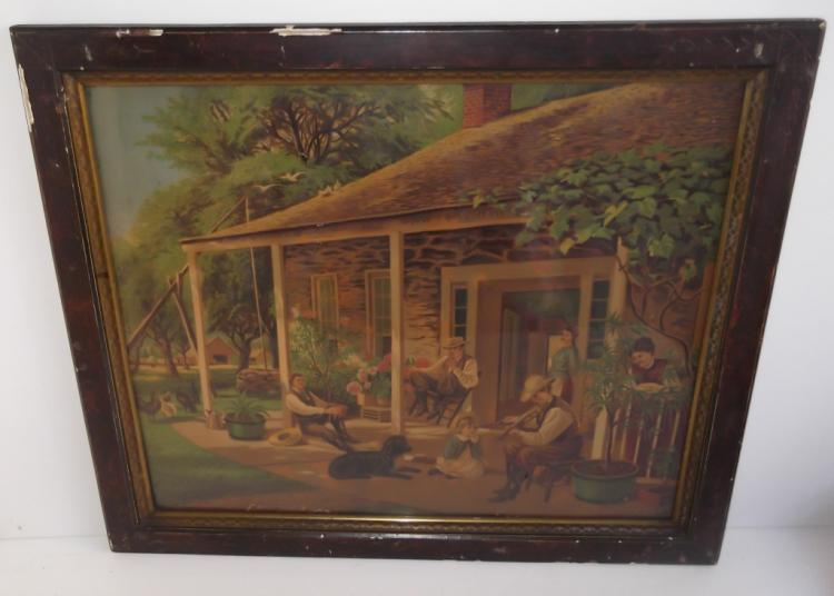 Early framed chromolithograph