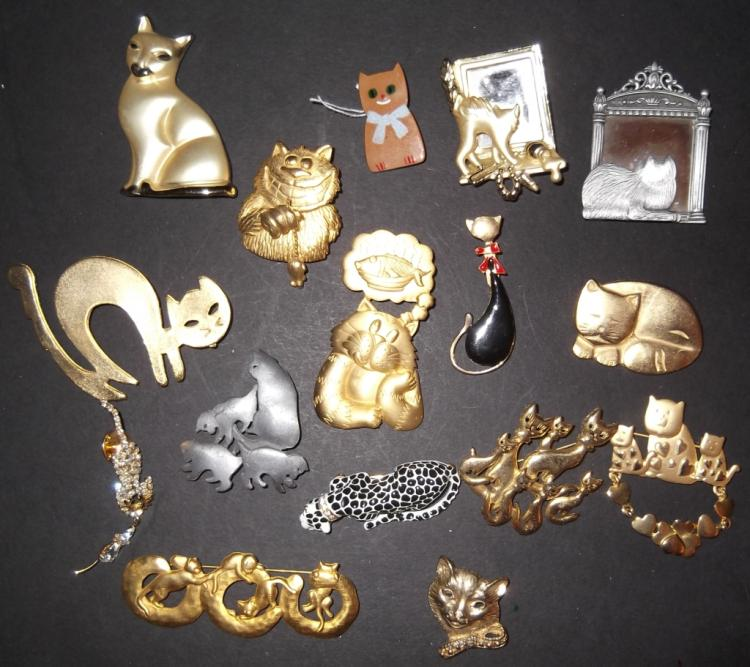 16 vintage & contemporary cat pins/brooches