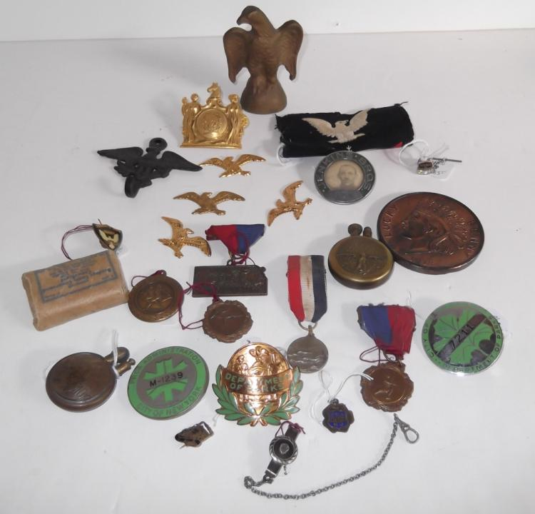 Collection of assorted  items pins; medals