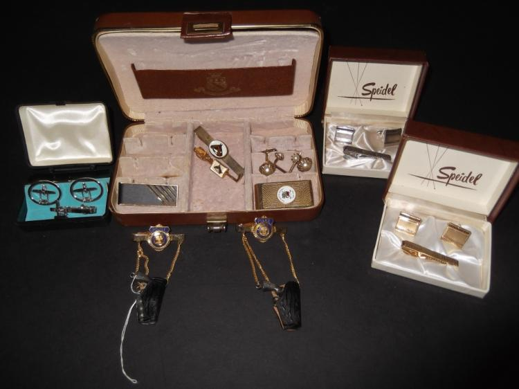Mens tie clips; cuff links; money clips