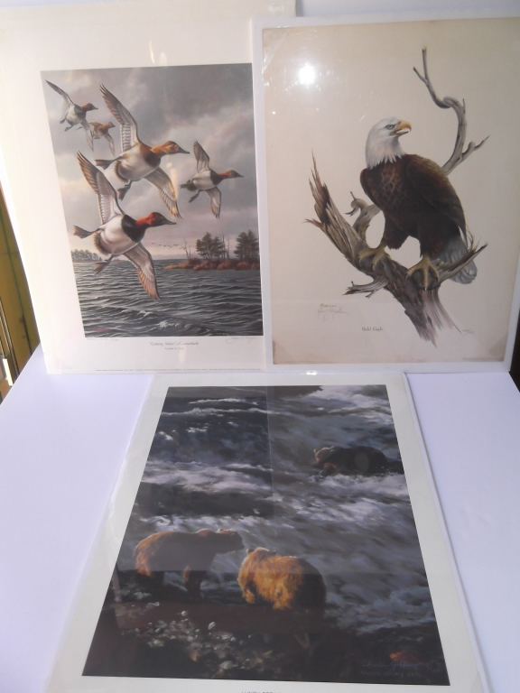 3 animal lithographs