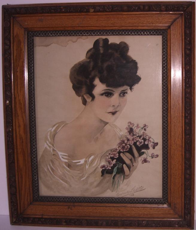 1928 woman portrait watercolor signed
