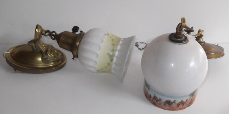 2 hand painted glass shade lighting fixtures