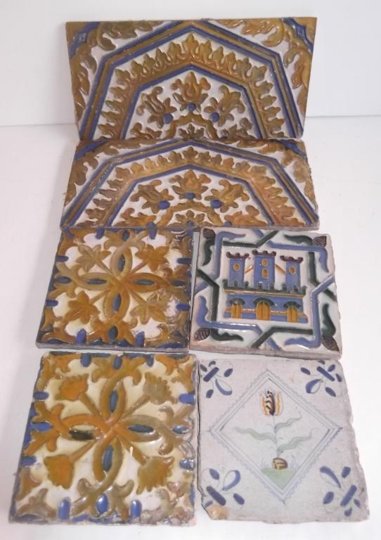 6 20th c. decorative ceramic tiles
