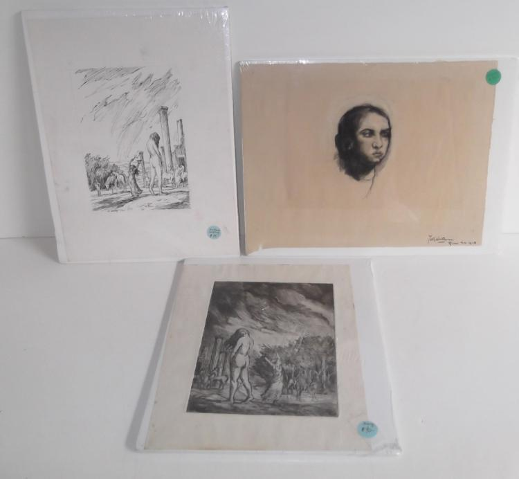 3 original engravings/drawing