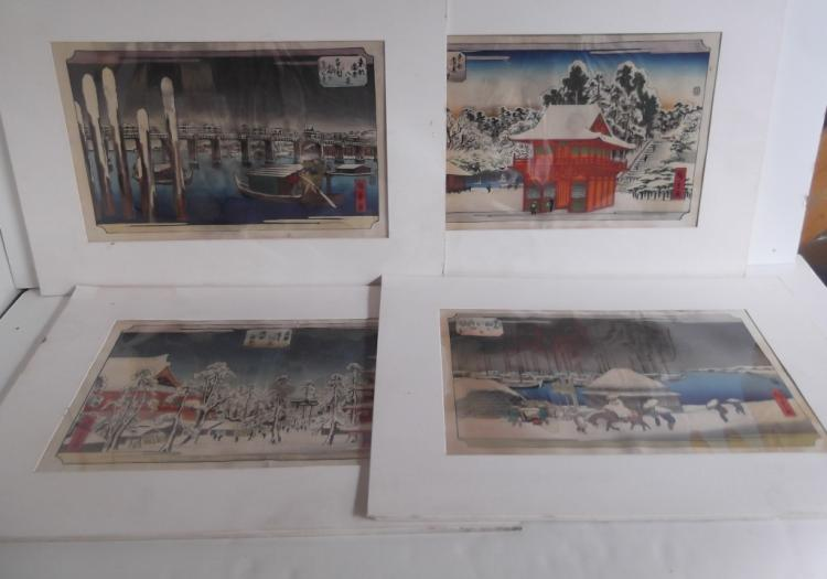4 Japanese colored woodblocks