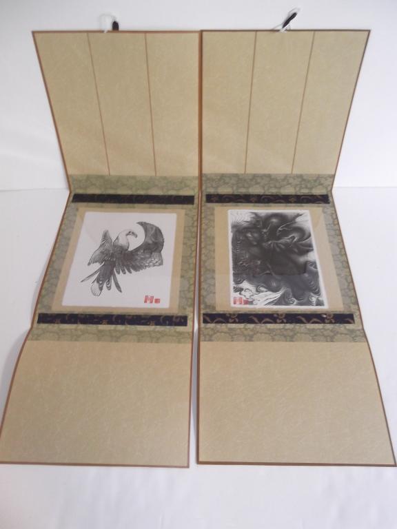 2 Japanese animal woodblocks