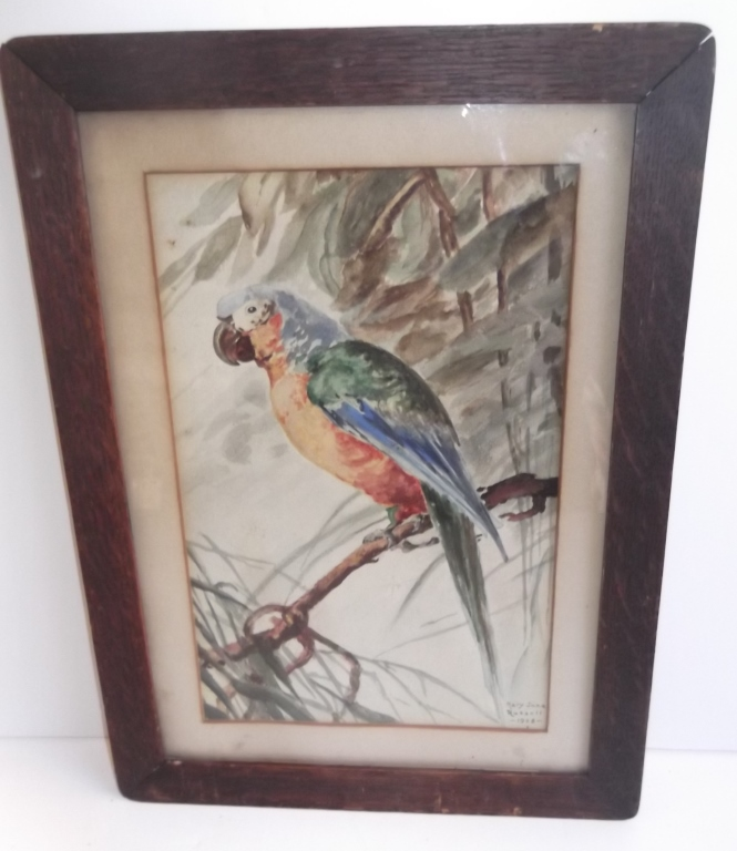 Parrot watercolor signed Mary Jane Russell
