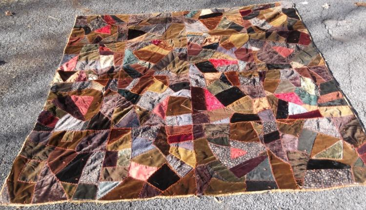 19th c. crazy patchwork quilt