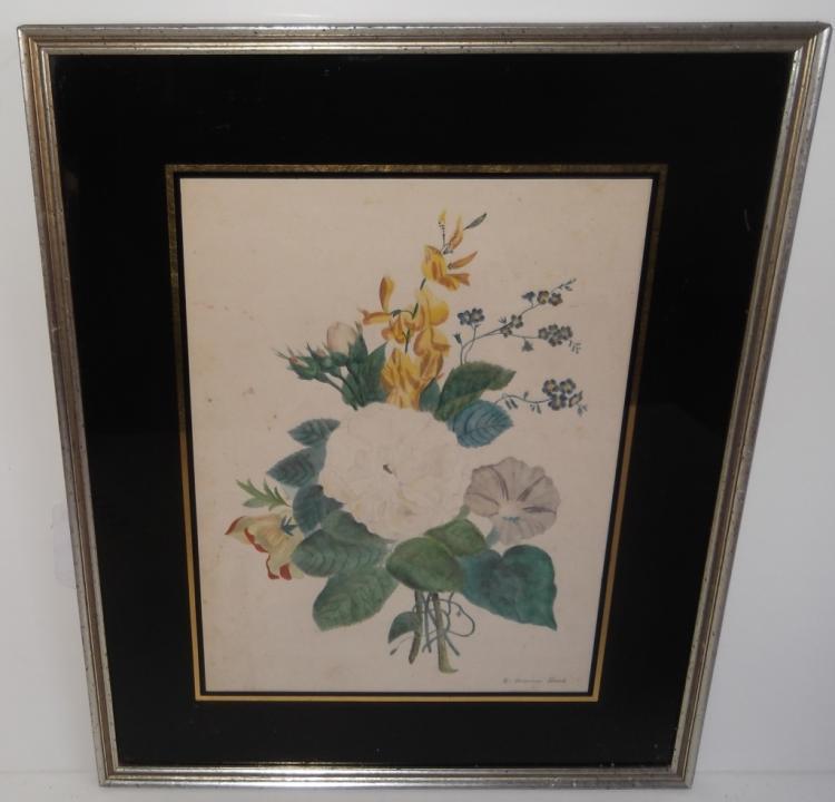 C. 1855 print framed still life