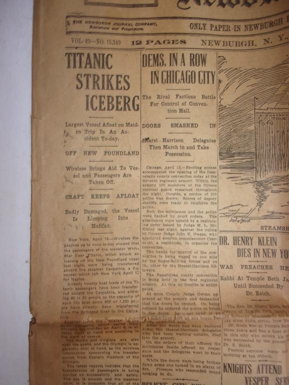 1912 Newburgh New York Journal newspaper