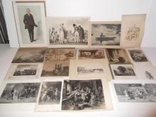 18 pieces 19th/20th c. engravings/etchings/prints