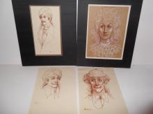 4  portrait drawings