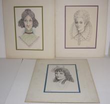 3 original woman portrait drawings