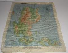 WWII Pilot Escape Survival map handkerchief map