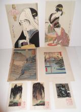 7 Japanese woodblocks & prints
