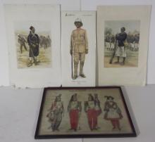 4 20th c.  military uniform engravings/prints
