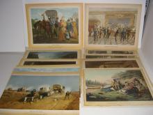 12 bookplate colored engravings/etchings