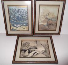 3 Japanese woodblocks