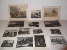 14 bookplate colored engravings/etchings