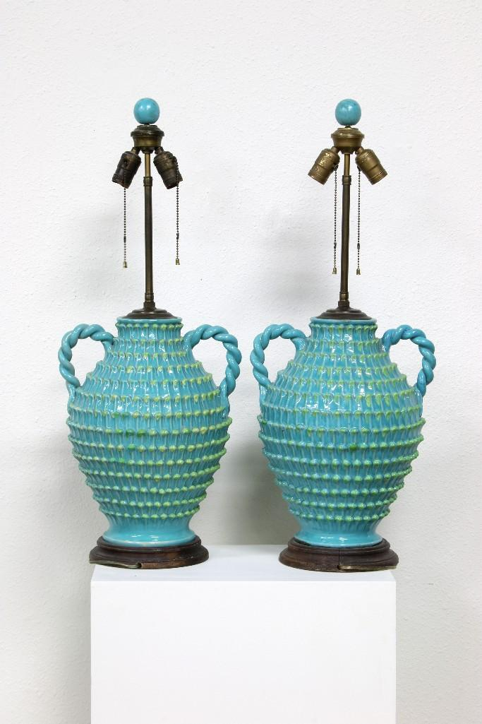 10 Kitchen And Home Decor Items Every 20 Something Needs: Pair Vintage Turquoise Glazed Ceramic Urn Table Lamps