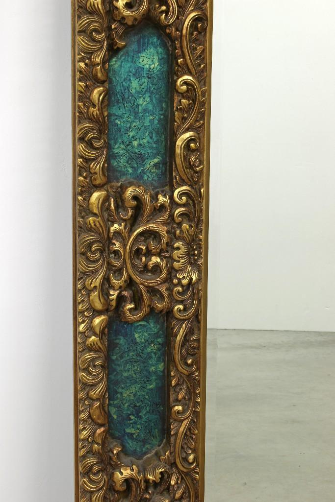 Large ornate mirror gold frame teal green empire style for Teal framed mirror