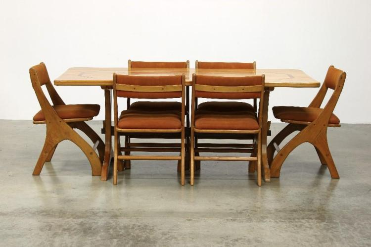 Norman ridenour artisan studio dining table 6 chairs for Dining table tj hughes