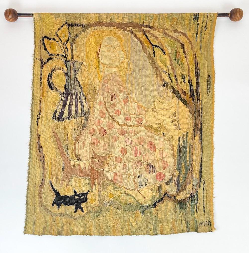 Mirjami Marttila Mid-Century Weaving Titled Kissatytto (Catgirl)
