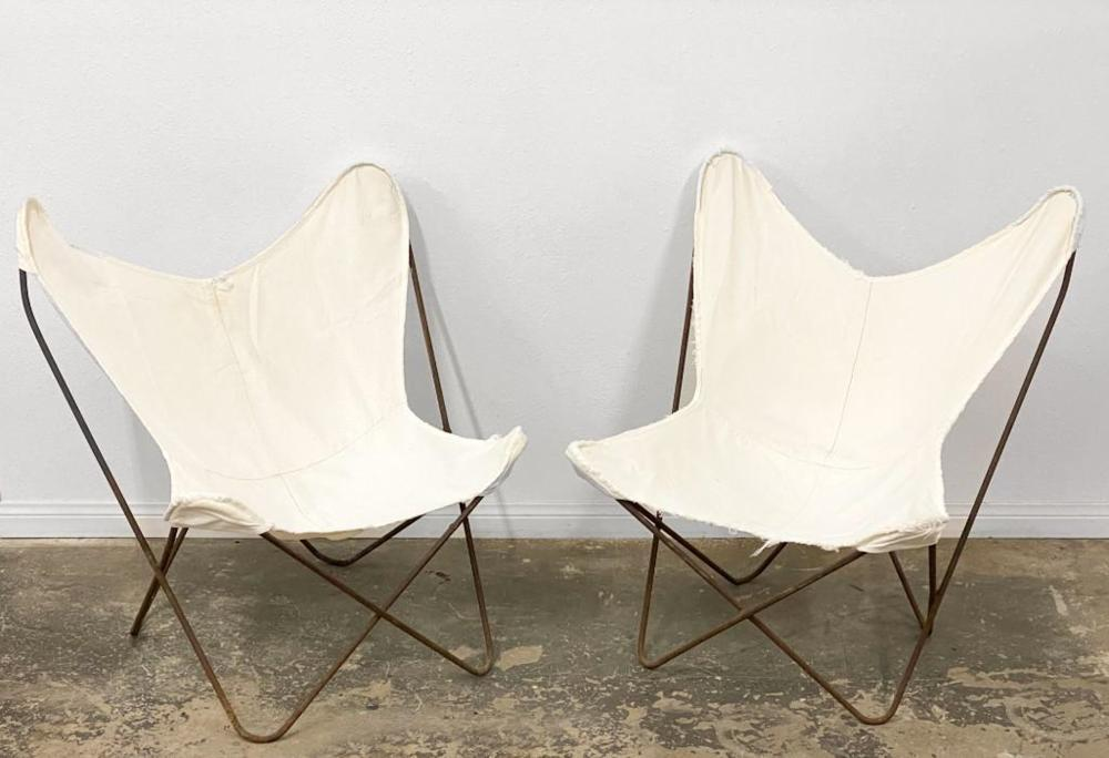 Pair Vintage Butterfly Chairs W/ Original Canvas Seats