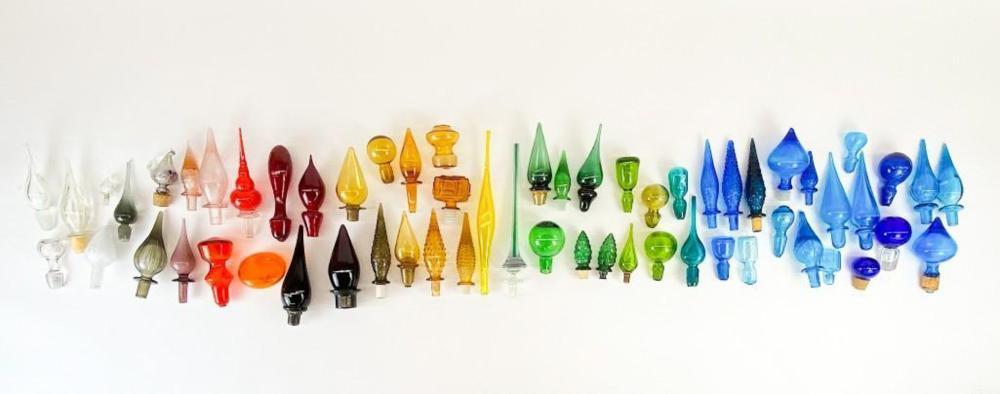 Lot of 59 Mid Century Glass Bottle Stoppers Blenko +