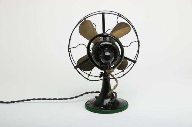General Equipment Company Fan : Antique general electric ge whiz brass blade fan black