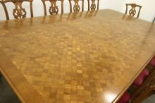 Chippendale Style Large Parquetry Dining Table with Ten Chairs