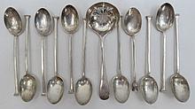 Ten HM silver seal top teaspoons, marked Sheffield