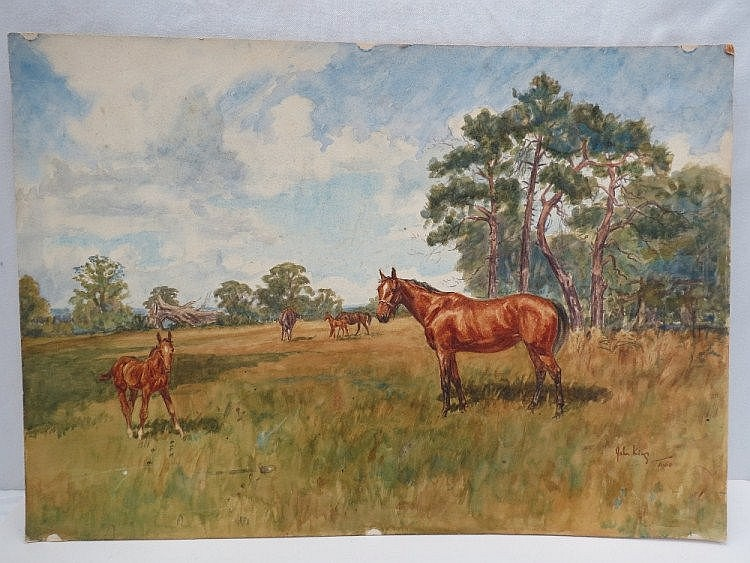 John King, (English artist). Mares and Foals,