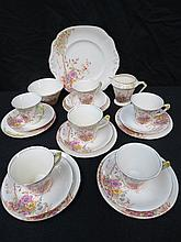 A 1930's Staffordshire tea service for six place